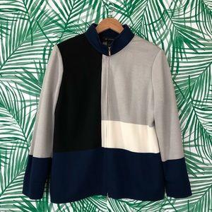 St. John Wool Blend Color Block Zip up Jacket 12